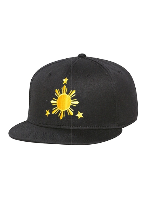 Filipino Sun & Stars Snapback Black Hat Yellow Stitch by AiReal - Click Image to Close