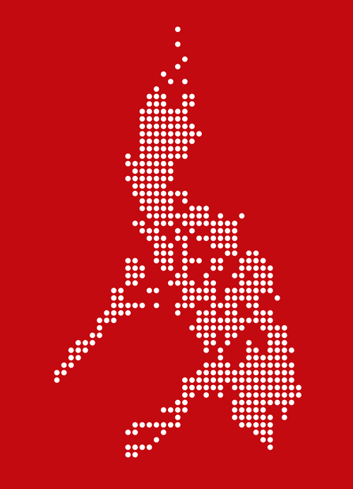 Philippines Digital Map Tee Shirt by AiReal Apparel in Red - Click Image to Close