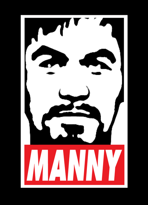 Obey MANNY Pacquiao Mens Tee Shirt by AiReal Apparel in Black - Click Image to Close