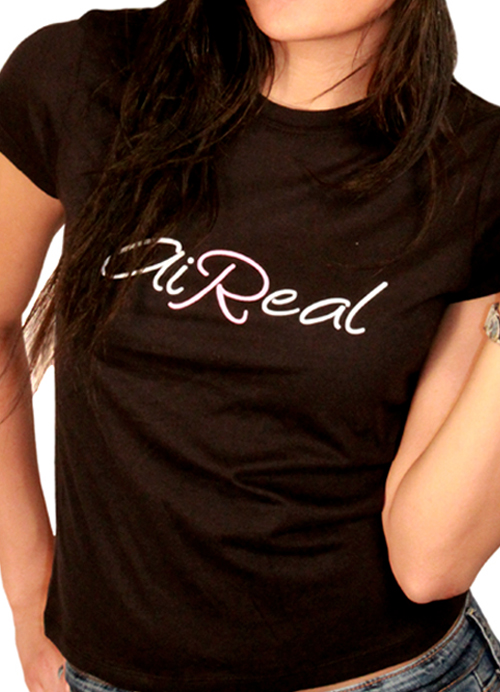 Lady AiReal Womens Logo Tee Shirt by AiReal Apparel in Black - Click Image to Close
