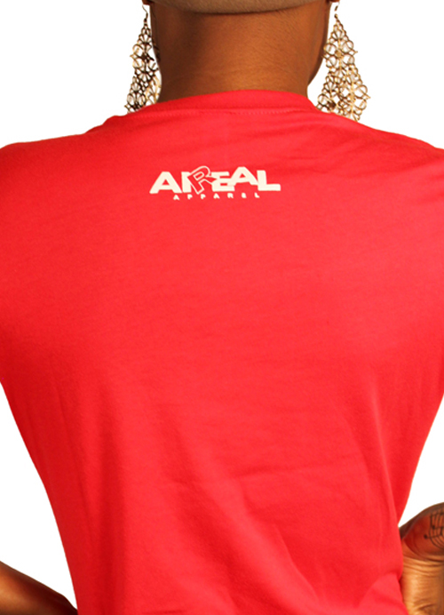 Break Necks Not Hearts Ladies Tee Shirt by AiReal Apparel in Red - Click Image to Close