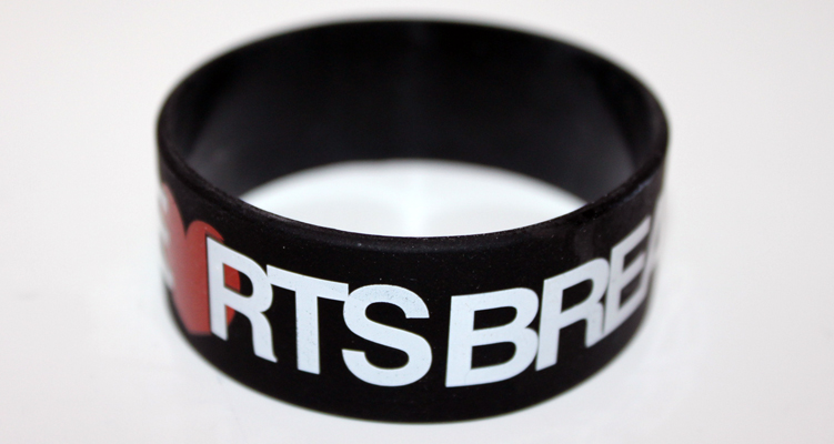 Break Necks Not Hearts Bboy 1-Inch Wristband by AiReal Apparel - Click Image to Close